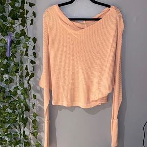 Woman's Free People Pink/Peach Scoop Neck Sweater